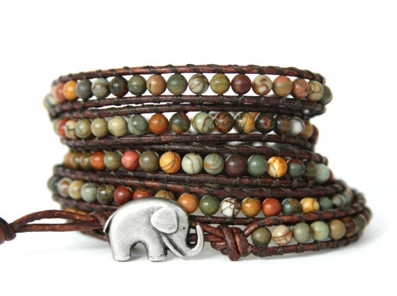 Autumn GOOD LUCK ELEPHANT leather wrap bracelet