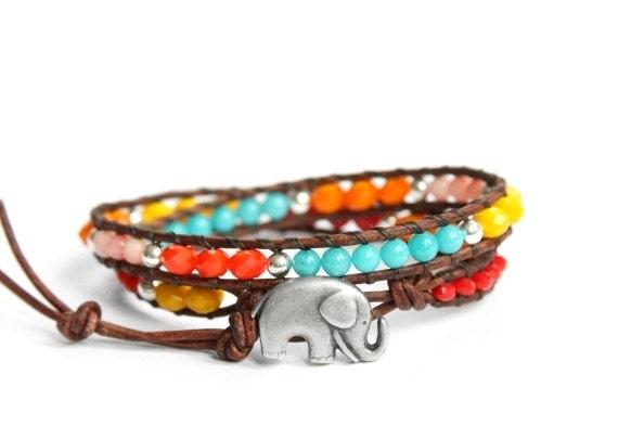 the Lucky Elephant Sundance Leather Wrap Bracelet - Double Wrap with GOOD LUCK ELEPHANT