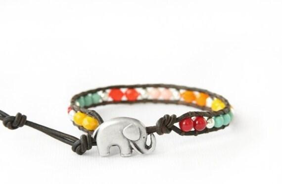 the lucky elephant Sundance Single Leather Wrap Bracelet - Single Wrap with GOOD LUCK ELEPHANT