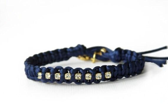 the lucky elephant Navy Blue and Gold Rhinestone Friendship Bracelet - Satin Cord, Swarovski Crystal Rhinestones with GOOD LUCK ELEPHANT