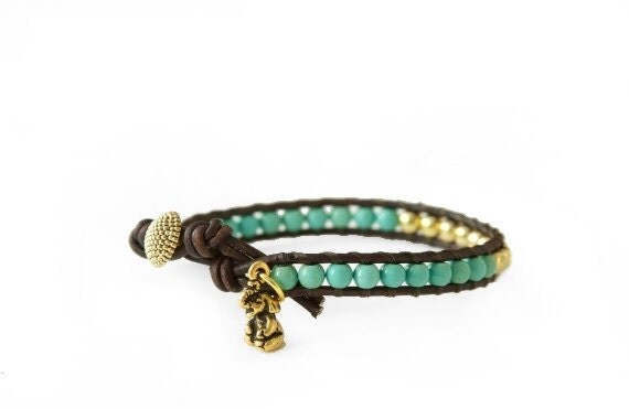 Turquoise and Gold Lucky Elephant Leather Wrap Bracelet - Single Wrap with GOOD LUCK ELEPHANT