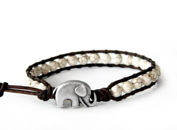 the lucky elephant Leather Wrap Bracelet - White Turquoise with GOOD LUCK ELEPHANT