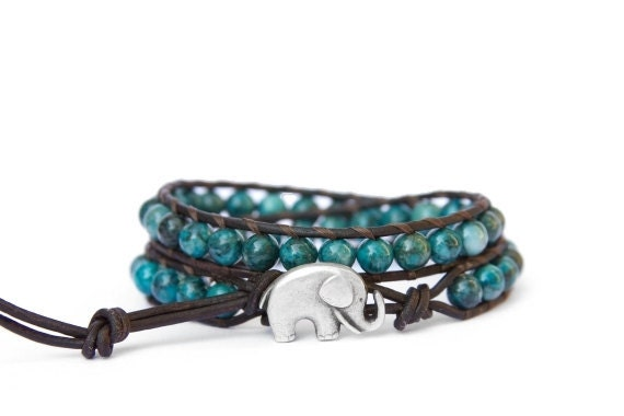 the lucky elephant Leather Wrap Bracelet - Crazy Lace Agate with GOOD LUCK ELEPHANT