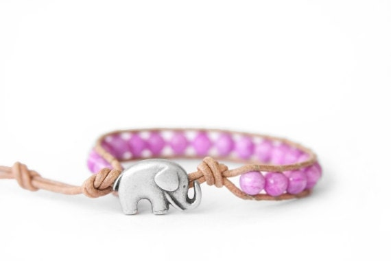 the lucky elephant Leather Wrap Bracelet - Purple and Tan with GOOD LUCK ELEPHANT