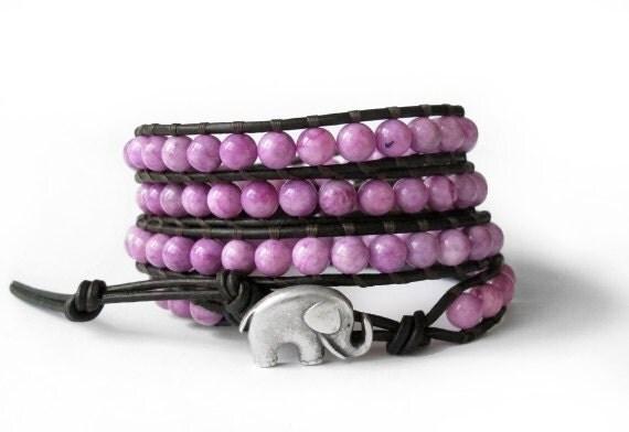 the lucky elephant Leather Wrap Bracelet - Purple Fossil  with GOOD LUCK ELEPHANT