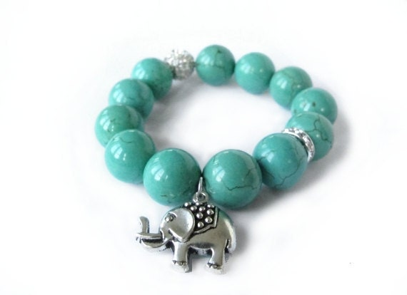The Lucky Elephant GOOD LUCK ELEPHANT Charm Bracelet with Chinese Turquoise and Crystal Accents