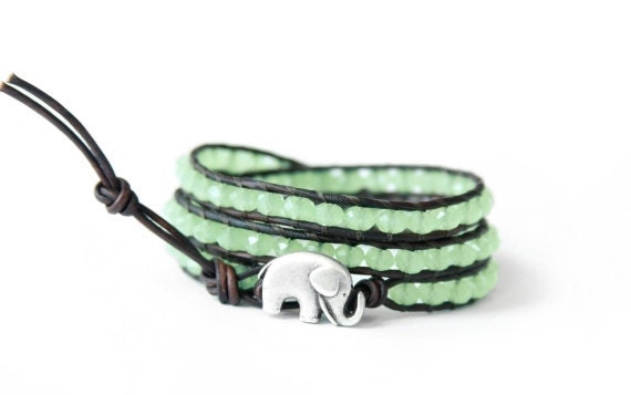 the lucky elephant Mint Green Leather Wrap Bracelet - Faceted Mint Crystals with GOOD LUCK ELEPHANT