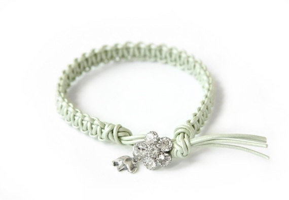the lucky elephant Vintage Inspired Mint Green  Leather Friendship Bracelet  with Thai Silver GOOD LUCK ELEPHANT and Rhinestone Closure