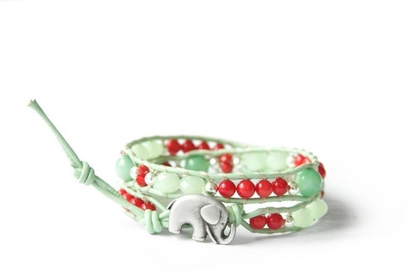MInt & Red the lucky elephant Leather Wrap Bracelet  with GOOD LUCK ELEPHANT