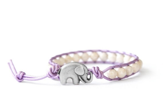 the lucky elephant leather wrap bracelet - Purple & Cream River Stone with GOOD LUCK ELEPHANT