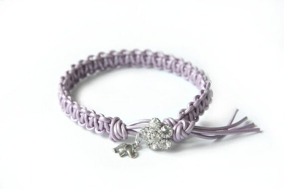 the lucky elephant Vintage Inspired Lavender Leather Friendship Bracelet  with Thai Silver GOOD LUCK ELEPHANT and Rhinestone Closure