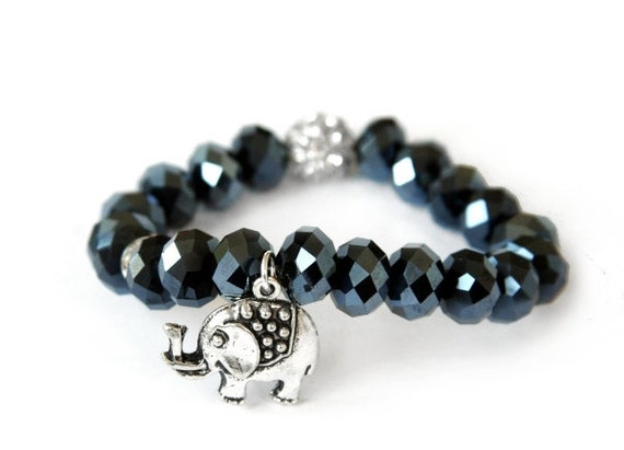 Ultimate Sparkle... the lucky elephant GOOD LUCK ELEPHANT Charm Bracelet with Midnight Blue Faceted Crystals and Crystal Rhinestone Accents
