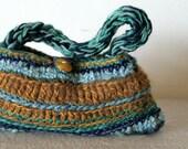 Crochet handbag - 3 seasons blue and brown  with yellow amber like button