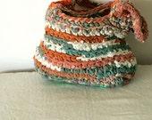 Rag bag - crochet upcycled orange and green summer handbag . happy recycling :-)