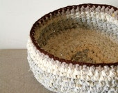 Reserved for maudelilacs - upcycled big rag crochet in  white, cream, off white with brown top