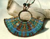 Beaded macrame necklace free spirit blue and brown with tiger eye beads