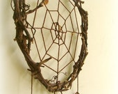 Web of life natural wall hanging brown dreamcatcher