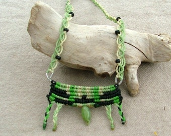 SALE - Cavandoli macrame necklace green and black wax thread unique OOAK design with metal wire and beads