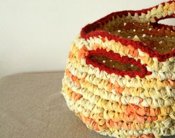 Rag basket - OOAK orange and yellow reused fabric large, with handles