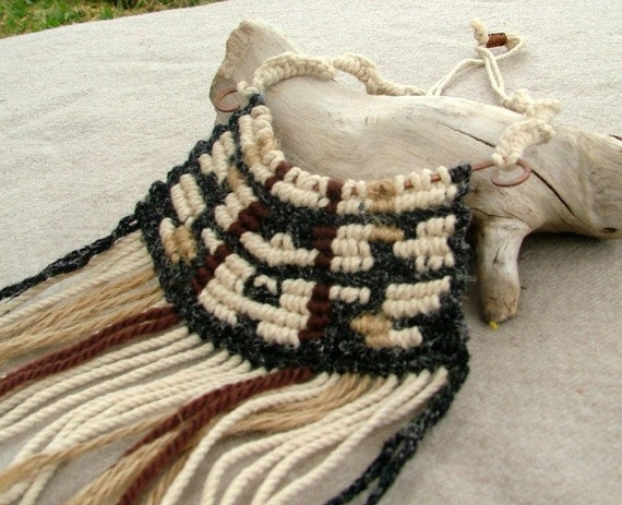 Native american macrame necklace unisex natural fiber in white black and brown with fringe and large wooden beads