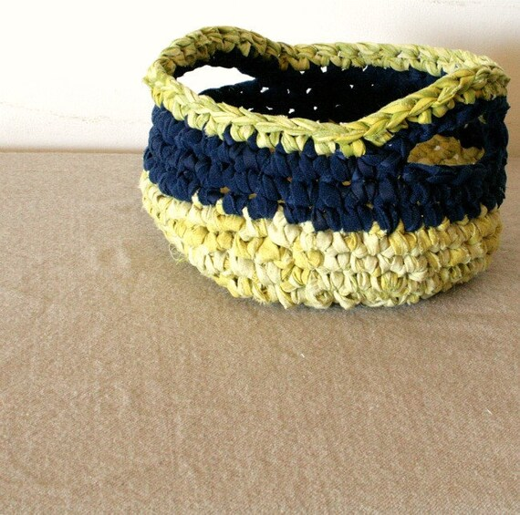 Rag crochet bowl - Yellow, blue and green with decorative handles