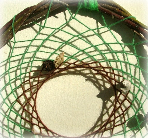 Baby mobile - baby crib mobile -native american dream catcher tribal craft OOAK weaved in green and brown