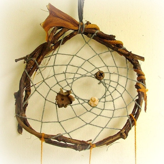 Nature craft OOAK baby mobile dreamcatcher weaved in grey with natural pods and driftwood.