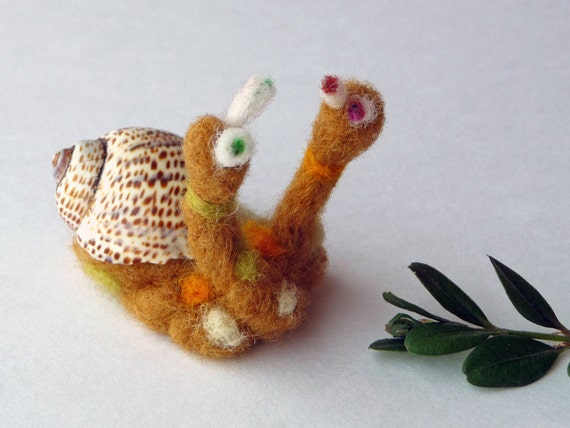 Two head mutant snail - needlefelted sculpture