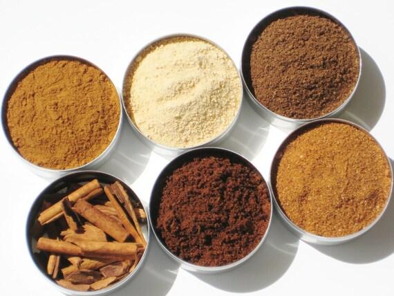 Baking Spice Kit - 6 spices in 52mm tins - Vietnamese Cinnamon, Clove, Nutmeg, Allspice & Cinnamon sticks - hostess gift / stocking stuffer