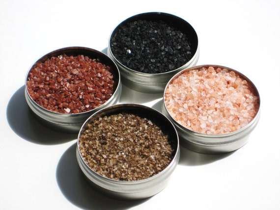 New ~ Salt Sampler - 4 delicious salts for snacks, grilling & cocktails - hostess / foodie / cooking salt gift - includes smoked and merlot
