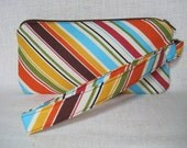 MultiColored  Stripped Zippered Wristlet