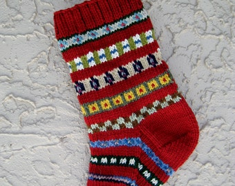 Hand knit Christmas stocking in brick red with FREE U.S. SHIPPING