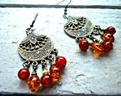 Amber. Dangle or chandelier earrings. Bohemian style. Geniune amber, carnelian agate & brass. Dark orange and amber earrings. Jewelry.