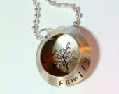 Locket Necklace Hand Stamped Family Tree