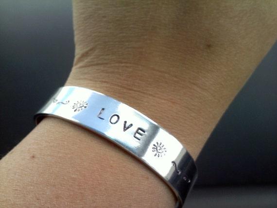 Bangle Cuff Hand Stamped Bracelet Aluminum Custom