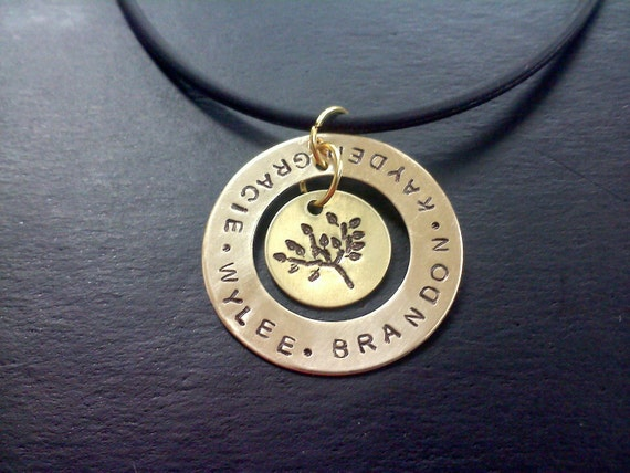 Family Tree Necklace Hand Stamped Custom