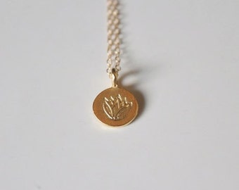 Gold Lotus Necklace, Lotus Flower Charm, Lotus Pendant Necklace, Layering Gold Necklace, Yoga & Spirituality - Indira Boheme Jewelry
