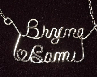 Double Name Necklace in Sterling Silver Wire (Romance Style)