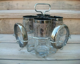 Vintage Silver Ombre Glass and Coaster Caddy