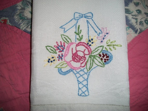Vintage Tea Towel...Basket of Flowers