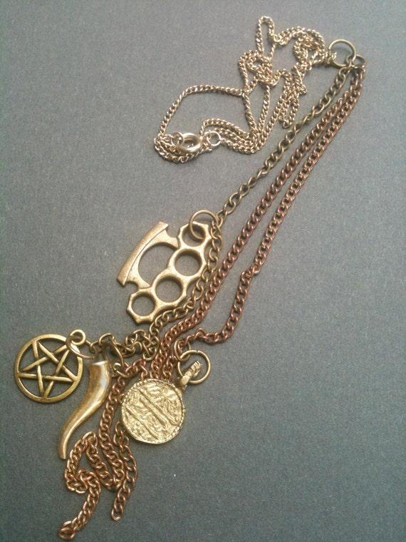 Knuckle Roll Lariat Brass Necklace