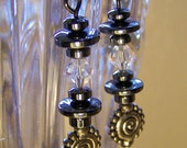 Eternity in Space Earrings, Hematite and Crystal Beads