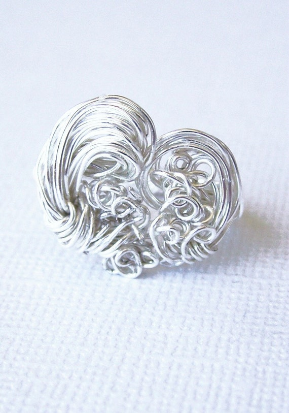 Tempest Split Heart Ring, Opens Up, Abstract Heart Shaped Silver Wire Ring Sculpture