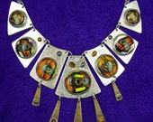 Cleopatra Necklace-  Dichroic Glass & Sterling Silver - Brass Tigereye Copper Gold - Large