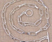 "Cable Chain (Drawn Flattened) - 5mm X 12mm Links - Silver Plate Toggle Clasp - 24"" (16"" 18"" 24"" Available)"