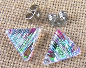 "Tiny Dichroic Studs - Post Earrings - 1/4"" 7mm 8mm - Clear Green Gold Ripple Wave Reed Fused Glass Triangle Studs"