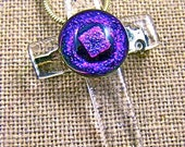 Dichroic Cross Pin & Pendant - Pink Violet Purple with Clear Window Fused Glass