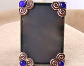 """Embellished Frame Small 2"""" x 3"""" - Fused Glass Cobalt Sapphire Dichroic on Copper Plated Spiral Corners  - 2.25"""" x 3.25"""""""