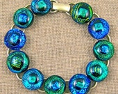 "Dichroic Link Bracelet STERLING Silver Chain - 1/2"" 12mm - Blue Teal Turquoise Green Dots Fused Glass - 7.5"" Adjustable"