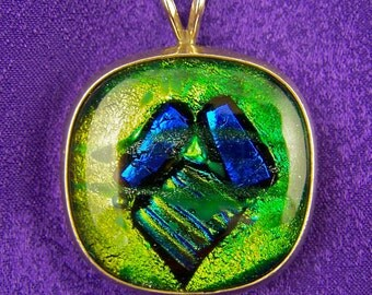 Dichroic Sterling Pendant - Golden Lime Green with Blue Fused Glass Bezel Set in Fine Silver - 1""